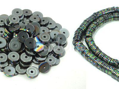 Hematyt heishi 6x1 mm tęczowy I - 10 sztuk