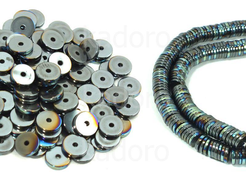 Hematyt heishi 6x1 mm tęczowy II - 10 sztuk
