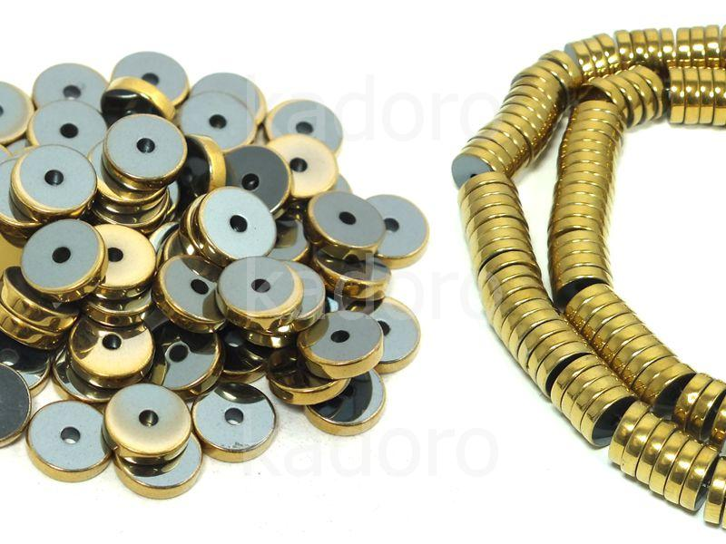 Hematyt heishi 8x2 mm złote - 10 sztuk