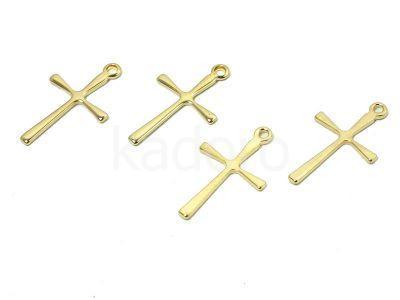 Zawieszka stalowa krzyżyk 16x9.5 mm złota - 1 sztuka