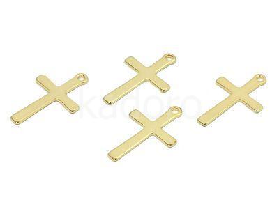 Zawieszka stalowa krzyżyk 20x12 mm złota - 1 sztuka