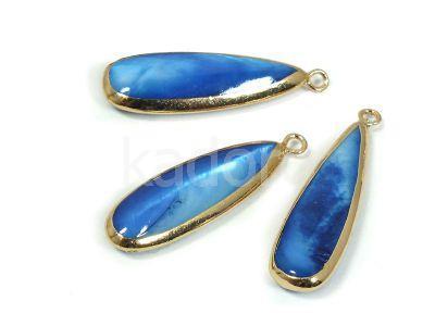 Zawieszka z masy perłowej w oprawie niebieska 32x12 mm - 1 sztuka