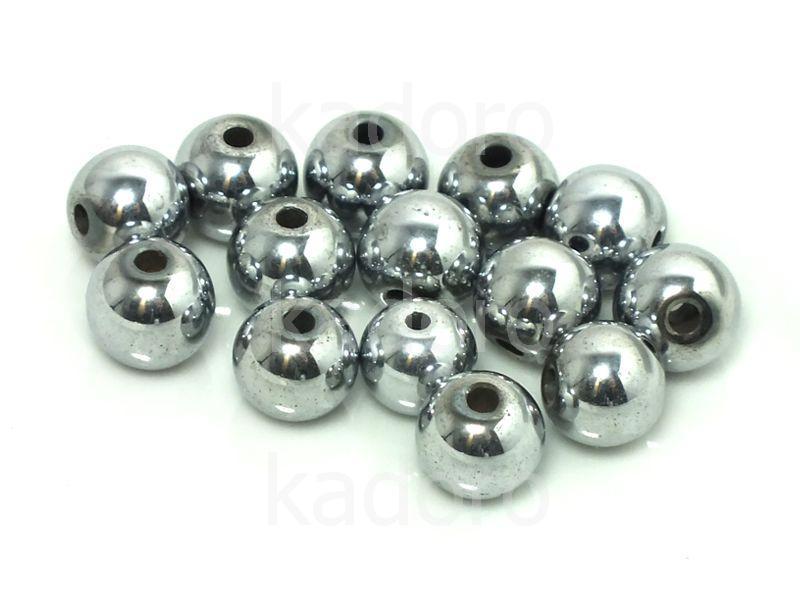 Hematyt srebrny kula 8 mm - 2 sztuki