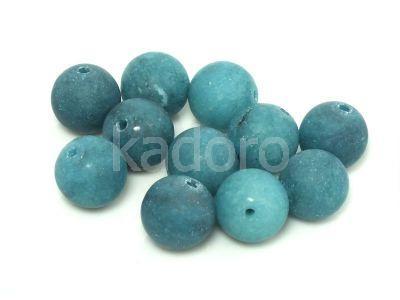Jadeit matowy ciemnoturkusowy kula 10 mm - 2 sztuki