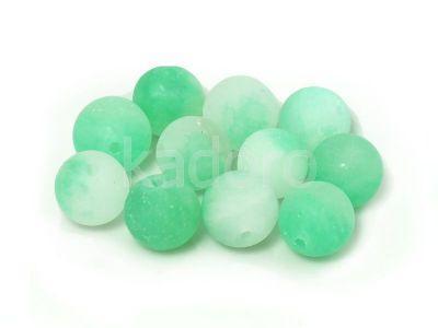 Jadeit matowy biało-zielony kula 10 mm - 2 sztuki