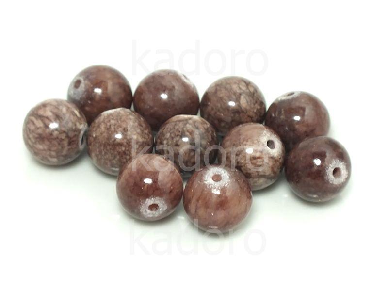 Jadeit brązowy kula 10 mm - 2 sztuki