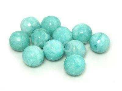 Jadeit jasnoturkusowy kula fasetowana 10 mm - 2 sztuki