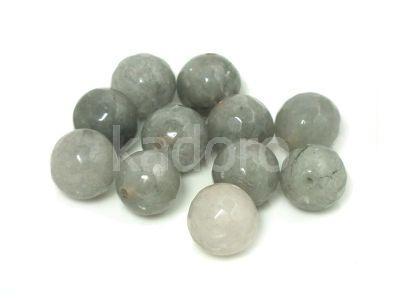 Jadeit stalowy kula fasetowana 10 mm - 2 sztuki