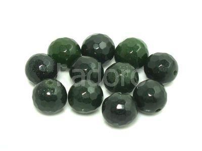Jadeit szmaragdowy kula fasetowana 10 mm - 2 sztuki