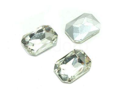 Szklany kamień fasetowany prostokąt 14x10mm Crystal F - 1 sztuka