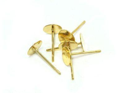 Sztyfty z płytką 6 mm stal szlachetna złote - 1 para