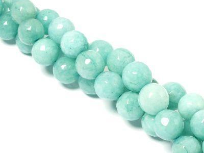 Jadeit jasnoturkusowy kula fasetowana 10 mm - sznur 37 cm