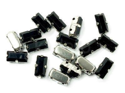 Montees czarne prostokąt 10x5 mm - 1 sztuka