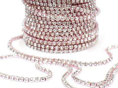 Taśma cyrkoniowa różowo-kryształowa 2 mm - 20 cm