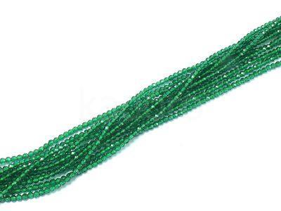 Kwarc (imitacja szmaragdu) kula fasetowana 2 mm - sznur 40 cm