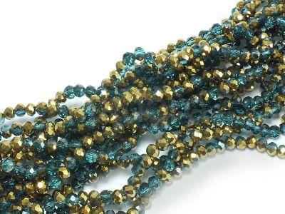 Szklane oponki fasetowane turkusowo-złote 4x3 mm - sznur