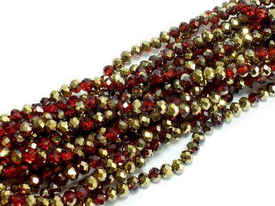 Szklane oponki fasetowane czerwono-złote 4x3 mm - sznur
