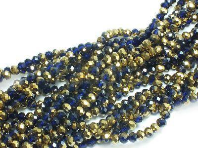 Szklane oponki fasetowane kobaltowo-złote 4x3 mm - sznur
