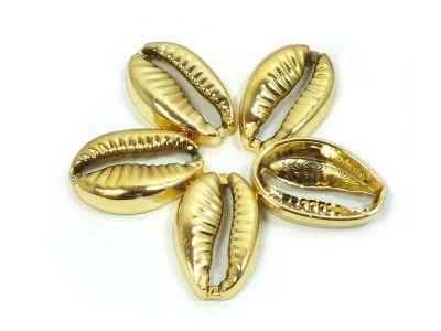 Łącznik muszelka Kauri 19.5mm złota - 1 sztuka