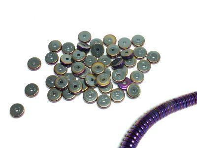 Hematyt heishi 8x2 mm fioletowe - 10 sztuk