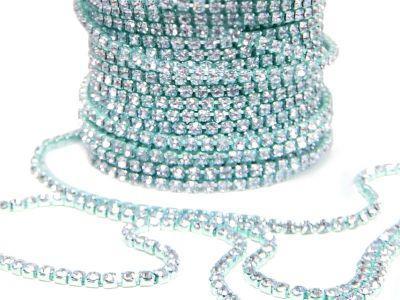 Taśma cyrkoniowa turkusowo-kryształowa 2 mm - 20 cm