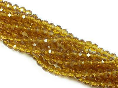 Szklane oponki fasetowane bursztynowe 4x3 mm - sznur