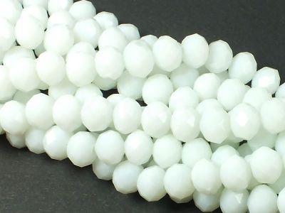 Szklane oponki fasetowane alabastrowe 8x6 mm - sznur