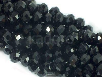 Szklane oponki fasetowane czarne 8x6 mm - sznur