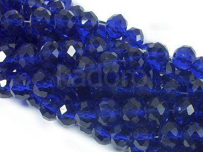 Szklane oponki fasetowane kobaltowe 8x6 mm - sznur