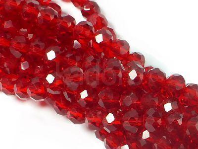 Szklane oponki fasetowane rubinowe 8x6 mm - sznur