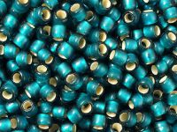 TOHO Round 6o-27BDF Silver-Lined Frosted Teal - 10 g