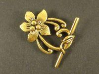 Zapięcie kwiatek typu toggle złote 30 mm - 1 sztuka