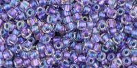 old TOHO Round 11o Inside-Color Rainbow Crystal - Metallic Purple Lined - 10 g