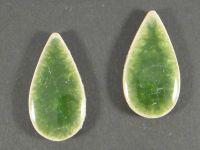 Kaboszon ceramiczny łezka cracle zielona 36x19 mm - 1 sztuka