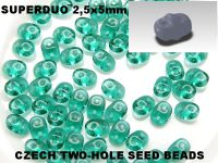 SuperDuo 2.5x5mm Emerald - 10 g