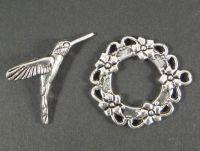 Zapięcie toggle z kolibrem 25 mm kolor srebrny - 1 komplet