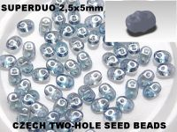SuperDuo 2.5x5mm Luster - Transparent Blue - 10 g
