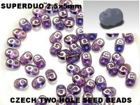 SuperDuo 2.5x5mm Luster - Transparent Amethyst - 10 g