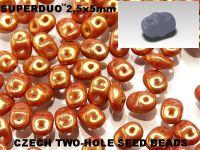 SuperDuo 2.5x5mm Luster - Metallic Gold Pink - 10 g
