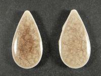 Kaboszon ceramiczny łezka cracle ciemnofioletowa 36x19 mm - 1 sztuka