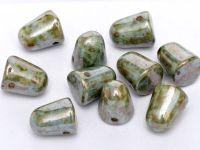 Gumdrop Beads Green Luster Picasso 10x7 mm - 10 sztuk