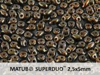 SuperDuo 2.5x5mm Jet - Bronze Picasso - 10 g