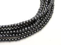 Perełki szklane grafitowe 3 mm - sznur