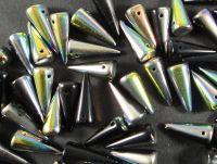 Spike Beads Jet Vitrail 17x7 mm - 10 sztuk