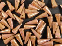 Spike Beads Luster - Opaque Rose - Gold Topaz 13x5 mm - 10 sztuk