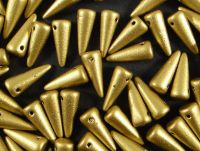 Spike Beads Matte Metallic Aztec Gold 13x5 mm - 10 sztuk