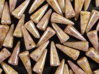 Spike Beads Luster - Transparent Gold Alabaster 13x5 mm - 10 sztuk