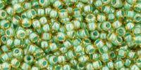 TOHO Round 11o-380 Inside-Color Topaz - Mint Julep Lined - 10 g