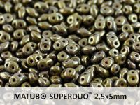 SuperDuo 2.5x5mm Opaque Olivine - Bronze Picasso - 10 g