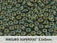 SuperDuo 2.5x5mm Matte Luster Transp. Gold Turquoise - 10 g
